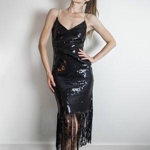 Topshop Sequin Fringed Dress